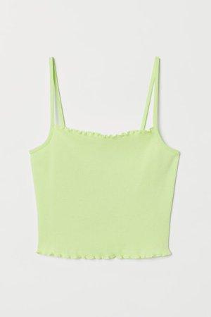 Cropped Tank Top - Light neon green - Ladies   H&M US