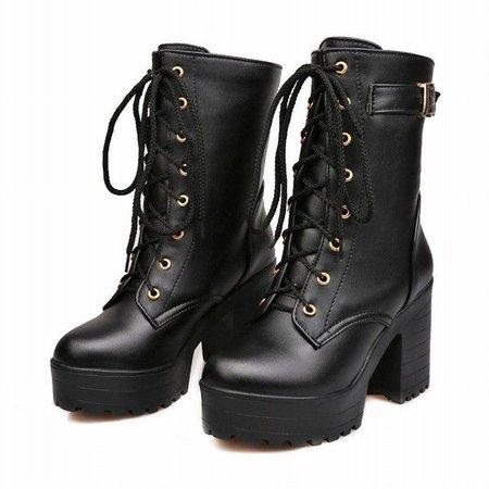 Black Chunky Combat Boot Heels