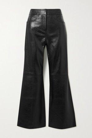 Eudora Leather Flared Pants - Black
