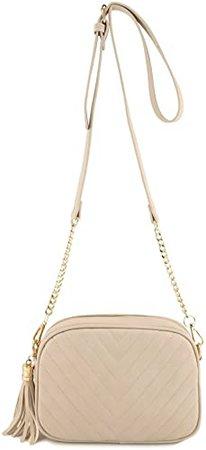 Simple Shoulder Crossbody Bag With Metal Chain Strap And Tassel Top Zipper (Coral): Handbags: Amazon.com