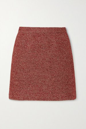 The Theo Checked Wool-blend Mini Skirt - Brick