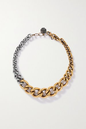 Gold Gold and silver-tone necklace | Alexander McQueen | NET-A-PORTER