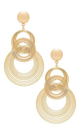 Ettika Art Deco Earrings in Gold | REVOLVE