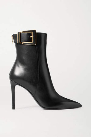 Payton Buckled Leather Ankle Boots - Black