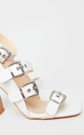 White Block Heel Multi Buckle Sandals | PrettyLittleThing USA