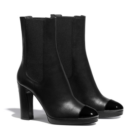 Lambskin & Patent Calfskin Black Ankle Boots | CHANEL