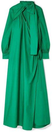 Oversized Cutout Cotton-poplin Wrap Maxi Dress - Forest green