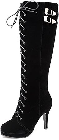 Amazon.com | getmorebeauty Womens Suede Buckle Rock Lace Up Zipped Knee High Boots High Heel Boots (Black, 9.5) | Knee-High