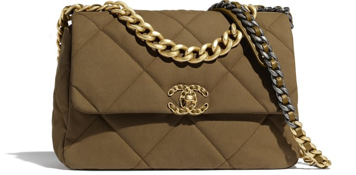 CHANEL 19 Large Flap Bag, cotton canvas, calfskin, gold-tone, silver-tone & ruthenium-finish metal, bronze - CHANEL