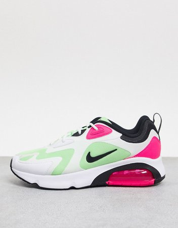 Nike Air Max 200 sneakers in white green and pink | ASOS