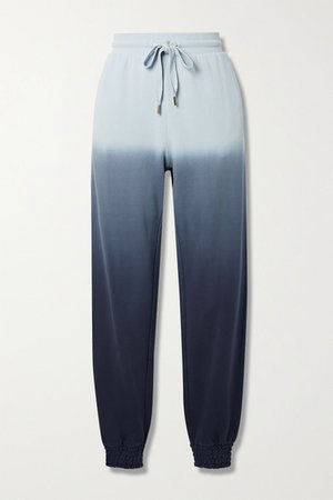 Alena Embroidered Ombre Cotton-jersey Track Pants - Navy