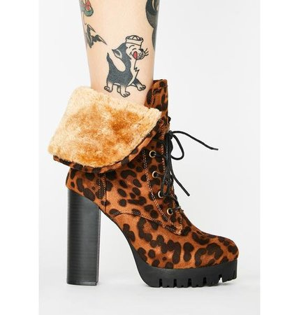 Faux Suede Heeled Lace Up Ankle Booties Faux Fur Leopard Print Brown