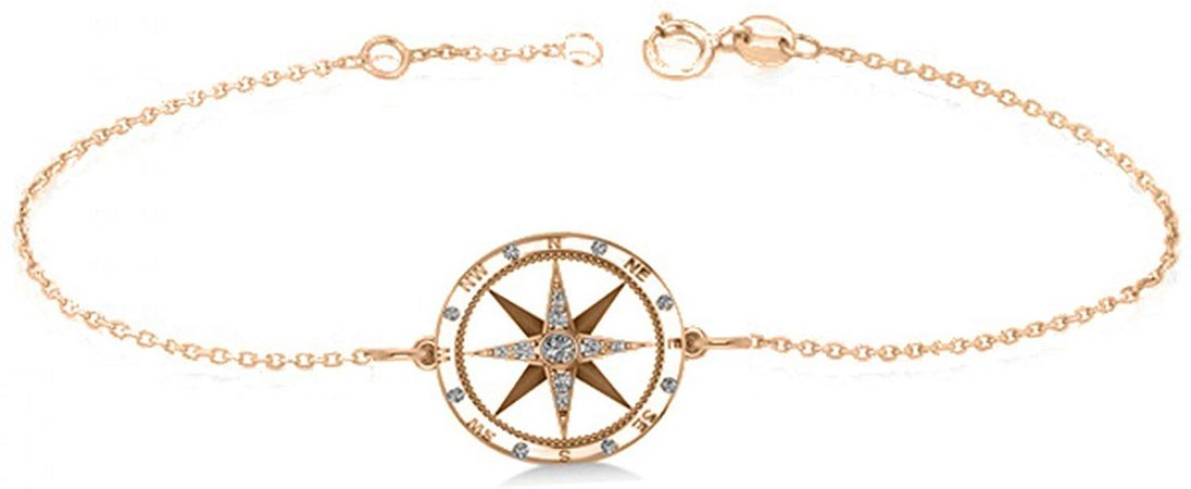 Amazon.com: Women's Diamond Nautical Compass Bracelet 14k Rose Gold (0.19ct): Jewelry
