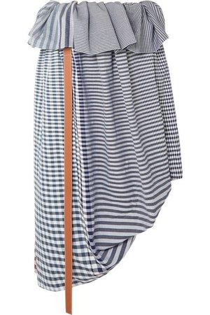 Loewe | Asymmetric leather-trimmed checked cotton-jacquard midi skirt | NET-A-PORTER.COM