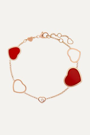 Chopard | Happy Hearts 18-karat rose gold, diamond and red stone bracelet | NET-A-PORTER.COM