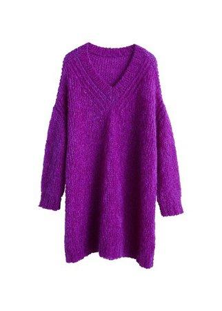 MANGO Long mohair-blend sweater