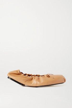 Ashland Bow-embellished Leather Ballet Flats - Tan
