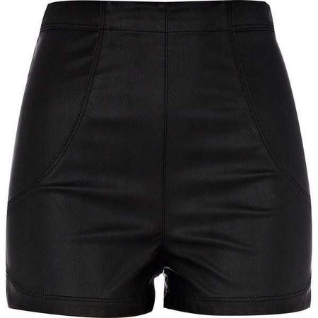 River Island Black Pu High Waisted Shorts ($48)