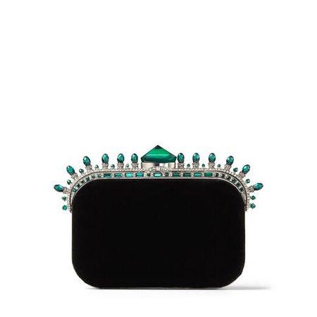 Black Velvet Clutch Bag with Dark Green Crown Jewels|CLOUD| Autumn Winter 19| JIMMY CHOO