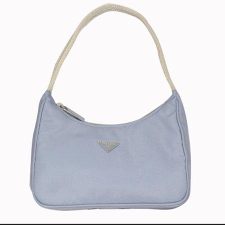 Vintage Dead Stock Prada Nylon Hobo Bag In Baby Blue... - Depop