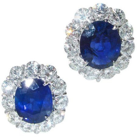 Fine Natural Blue Sapphire and Diamond Earrings For Sale at 1stdibs