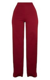 Burgundy Wide Leg Trouser | Trousers | PrettyLittleThing USA