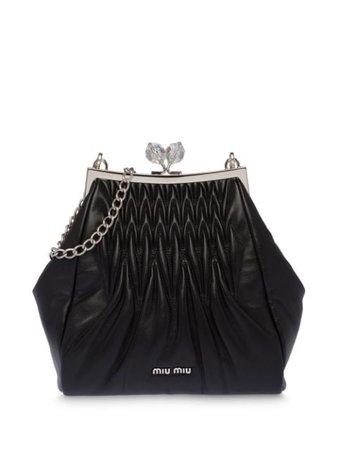 Miu Miu Matelassé Clutch Bag 5BK007VOMO2C9P Black | Farfetch