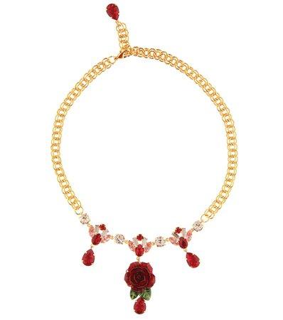 Crystal-Embellished Rose Necklace - Dolce & Gabbana | mytheresa
