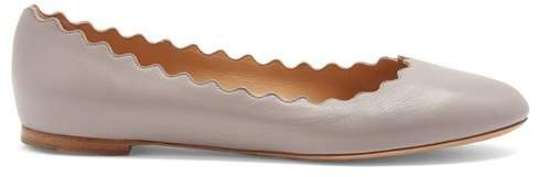 Lauren Scallop Edge Leather Ballet Flats - Womens - Grey
