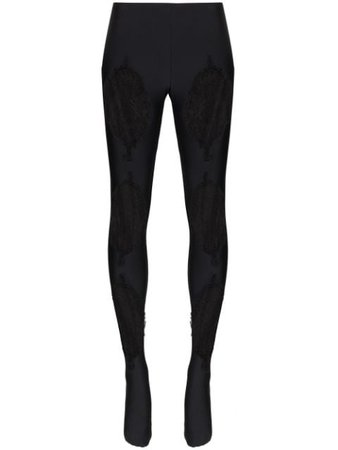 Versace Lace-Panelled Leggings | Farfetch.com
