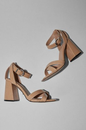 SACHA Natural Ankle Tie Block Heel Sandals | Topshop
