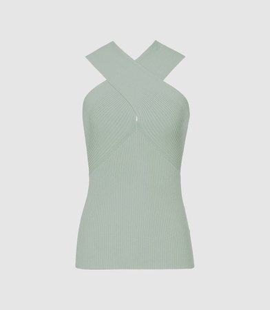Dana Peppermint Cross Front Top – REISS