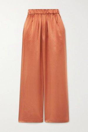 Silk-satin Wide-leg Pants - Copper