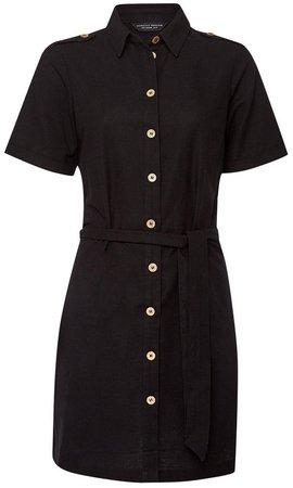 Black Linen Look Shirt Dress
