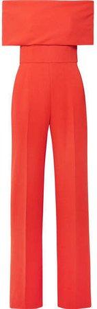 Lela Rose Off-the-shoulder Wool-blend Cady Jumpsuit - Coral - ShopStyle Pants