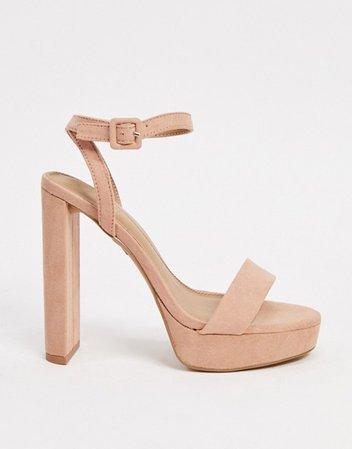 ASOS DESIGN Wide Fit Natasha platform barely there heeled sandals in beige | ASOS