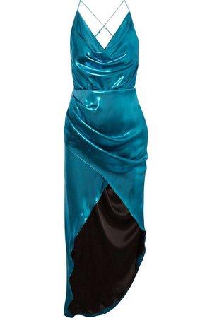 Haney | Holly open-back metallic satin midi dress