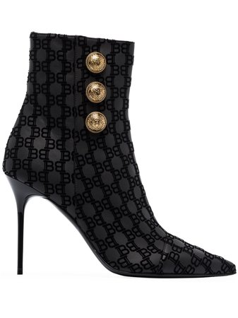Balmain Roni 95 Flocked Ankle Boots - Farfetch