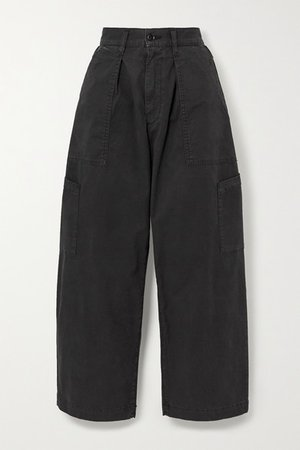 Mari Cotton-blend Twill Tapered Pants - Black
