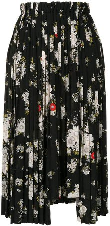 Floral-Print Pleated Midi-Skirt