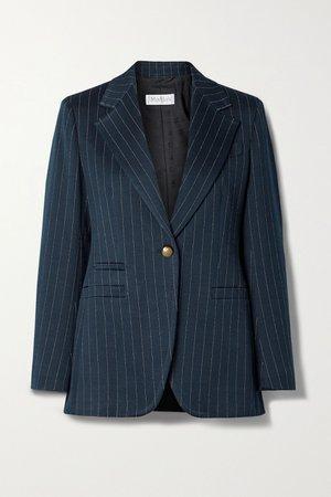 Navy Valdai pinstriped cotton-blend blazer | Max Mara | NET-A-PORTER