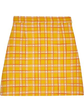 Gucci Check A-Line Mini Skirt 609775ZACQC Yellow | Farfetch