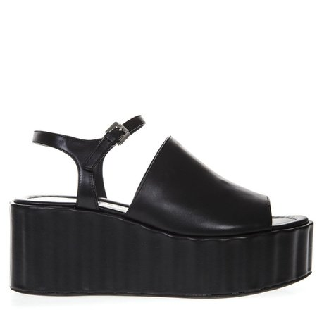 Strategia 70mm Wedged Black Leather Sandal