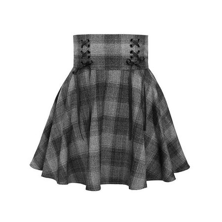 Dark Grey High Waist Plaid Cross Skirt SD00255 – SYNDROME - Cute Kawaii Harajuku Street Fashion Store