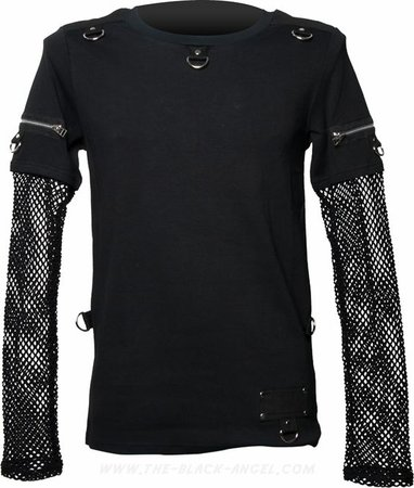 Goth shirt with mesh sleeves