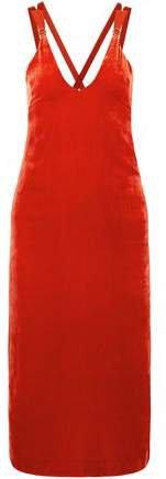 Grosgrain-trimmed Velvet Midi Dress