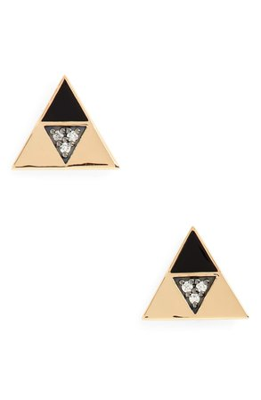 Harwell Godfrey Enamel & Diamond Triangle Stud Earrings | Nordstrom