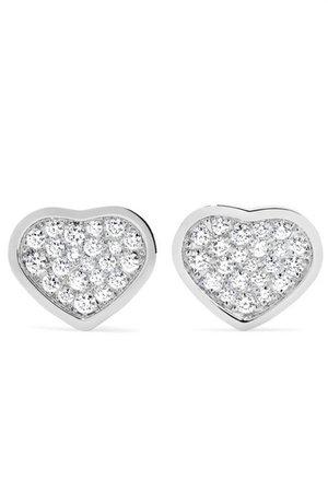 Chopard | Happy Hearts 18-karat white gold diamond earrings | NET-A-PORTER.COM