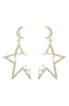 Luxe Collection 18K Gold Plated CZ Moon & Star Drop Earrings   Nordstromrack