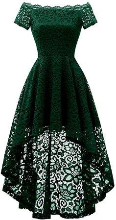 Amazon.com: Dressystar 0042 Lace Off Shoulder Cocktail Hi-Lo Bridesmaid Swing Dress Blush L: Clothing